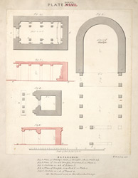 Plans and sections of Chaitya hall, Sanchi